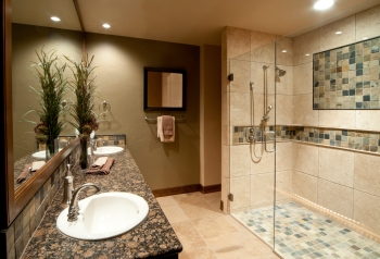Love the large walk-in stall shower with tile surround.