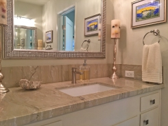 Lovely remodeled master bath of home in Laguna Niguel. One of the dual vanities in this master.