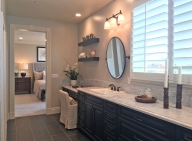 Master bedroom and Bathroom Oakmont Plan 3 Model Home Beacon Park