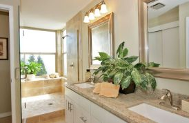Master bath with traditional dual sink vanity and shower with garden window.