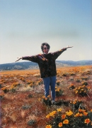 My mother in the local Orange County flower fields.