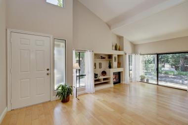 Beautiful hardwood Floors and Patio off Living Room