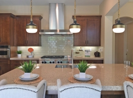 Quartz Counter Tops in the Kitchen with Glass Backsplash