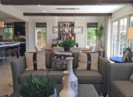 Beach home staging with plants